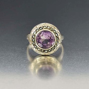 Seed Pearl Halo Silver Amethyst Ring, 1800s