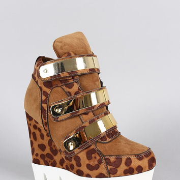 Dollhouse Leopard Metallic Strap High Top Wedge Sneaker