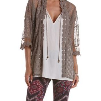 Taupe Crochet-Trim Lace Kimono by Charlotte Russe