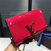 Louis Vuitton Rose Red #357544 Chain HandBag