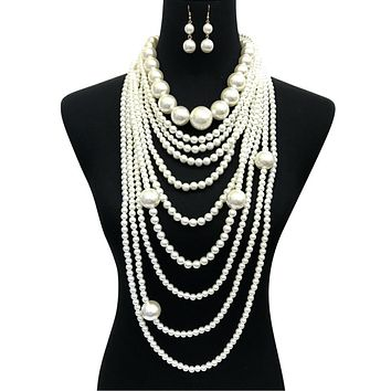 Long Layered Cream Pearl Necklace Set Featuring Jumbo Pearls