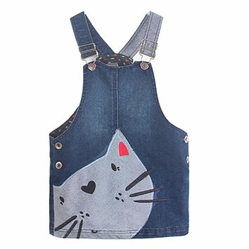 Kids Dresses for Girls Summer Dress Denim 2017 Kids Clothes Lovely Cat Cowboy Toddler Girl Strap Dress Children Clothing Z03