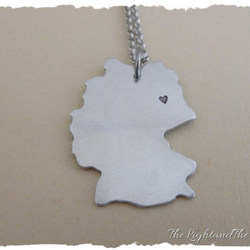 GERMANY - Hand Stamped Jewelry - Custom heart location - Gift Idea - Country - Location - Map - World