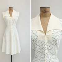 1970s Dress - Vintage 70s White Floral Zip Front Dress - Al Fresco Dress