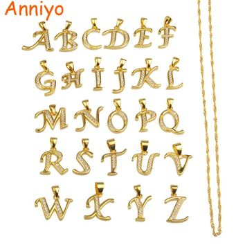 Anniyo Small Letters Necklace Gold Color Initial Pendant Chain 45cm for Women,Cubic Zirconia English Letter Jewelry Gift #040602