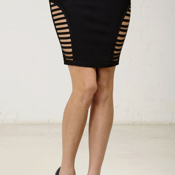 Side Cut Out Bandage Pencil Skirt - Black