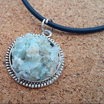 Aquamarine Necklace - Gemstone Crystal Necklace - Chakra Necklace