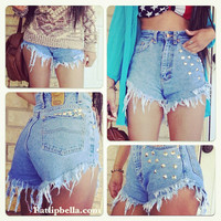 hipster studded frayed diamond cut shorts.Vintage highwaisted high waist or low rise.