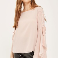 TALL Eyelet Lace Up Flute Top | Topshop