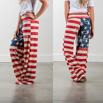 American Flag Casual Pants