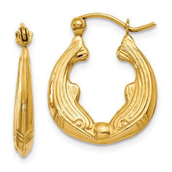 14k Dolphin Hoop Earrings S814