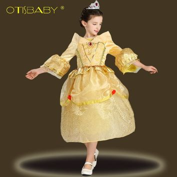 High Quality Fashion Belle Princess Dresses for Girls Gold Sophia Performance Prom Dress Kids Sofia Elsa Cospaly Party Dress Hot