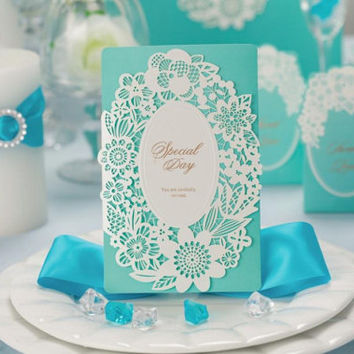 spring new arrival 50pcs/set free envelop and free seal Spring Floral Tri-fold Wedding Invitation