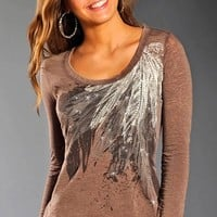Rock & Roll Cowgirl Womens Long Sleeve Feather Top - Caramel