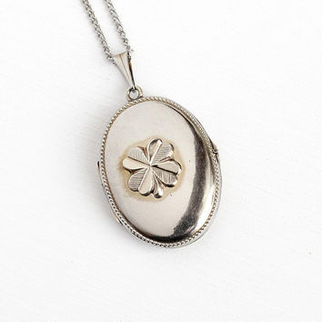 Vintage Clover Locket - 1940s Silver Tone Four Leaf Necklace - German 1940s Shamrock Good Luck Photograph Jewelry on Silver Tone Chain