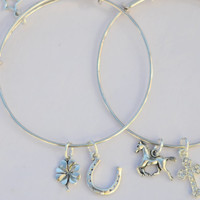 Personalized Set Horse Lover Charm Bracelets Charms= Horse Cross Horseshoe 4 Leaf Clover NOT Alex & Ani=Personalized Initial Charm Bracelet