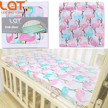 "100% Cotton Muslin Soft Fitted Crib Sheet 28""X52""(Standard Size Crib) Soft Bedding Sheet Sets Mattress Cover Bedspeard Sheet"