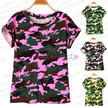4 colors Women Camouflage T-shirts Bat sleeve t shirts Stretch Cotton tees Modal tops Personalized  Plus size S/M