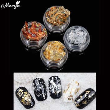 Gold Silver Aluminum Nail Art Foils Sticker Adhesive Glue Image Transfer 3D Glitter Flake Laser Decal Decoration