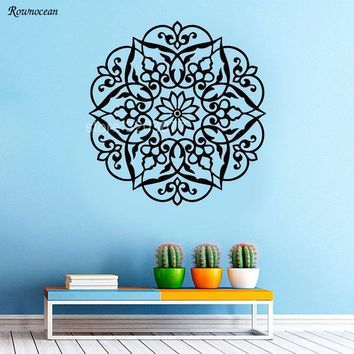 India Round Mandala Flower Wall Decal Namaste Vinyl Art Home Decor For Living Room Sticker Bohemian Boho Removable Murals Z151