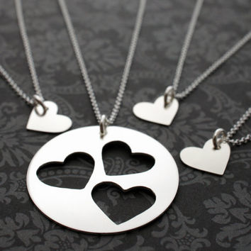 Mother Daughter Jewelry - Custom Cut Heart Necklace Set for Three Daughters - Personalized Jewelry in Sterling Silver by EWD