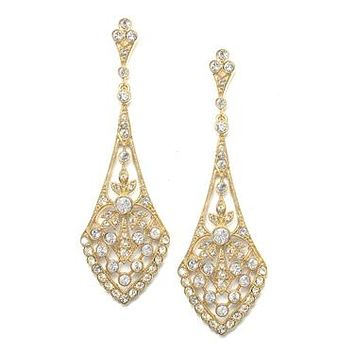 Dramatic Gold Vintage CZ Bridal Earrings 1072E-G