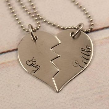 """Big"" & ""Little"" Stainless Steel Sisters Broken Heart Necklace Set - READY TO SHIP"