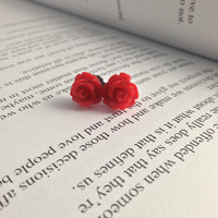 10mm Red Resin Flower Earrings with Titanium Nickel Free Earring Posts