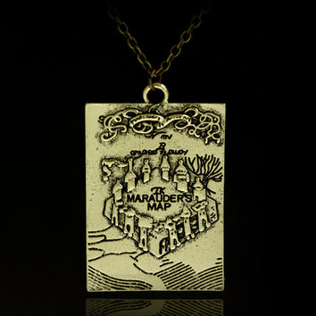 New Products The Marauder's Map Hogwarts School Of Witchcraft & Wizardry Alloy Pendant Necklace