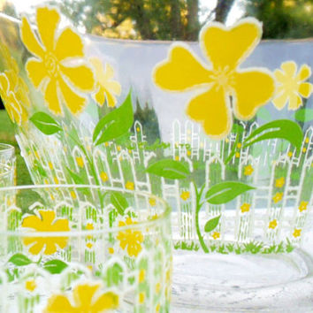 Vintage Punch Bowl Set Culver LTD Yellow Flower 12 Glasses