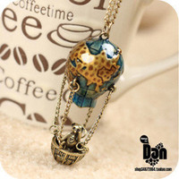 1PCS Vintage Unique design fire balloon Pendant chain necklace free shipping