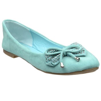Womens Tassel Accent Studded Bow Ballet Flats Mint