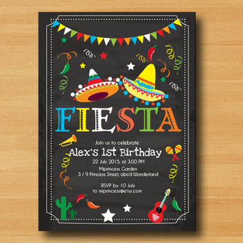 Mexican Fiesta Birthday invitation, Fiesta Party Birthday Invitation for any age,  Whimsical design  Colorful Festive birthday - card 331