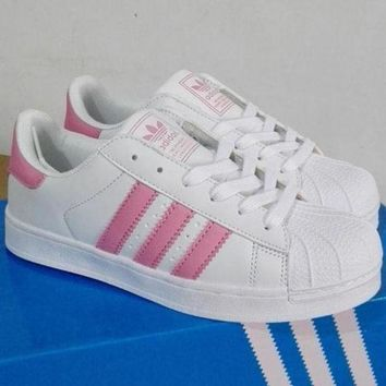 """Adidas"" Fashion Trending Shell-toe Flats Sneakers Sport Shoes Pink Line G"
