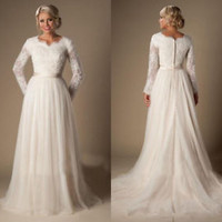 Modest Long Sleeves Ivory Bridal Wedding Dress with Belt Custom Size 2 4 6 8 10