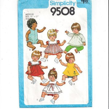 Simplicity 9508 Pattern for Doll Clothes for 15-17 Inch Medium Doll, From 1980, Doll Clothes Pattern, Vintage Pattern, Home Sewing Pattern