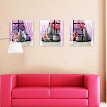 3 d simulation bedroom adornment wall posted a set of three purple SM6