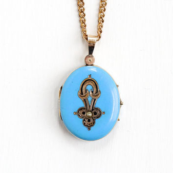 Antique Victorian 14k Yellow Gold Blue Enamel & Seed Pearl Locket Necklace- Vintage Rare Late 1800s Fine Pendant Jewelry with Original Photo