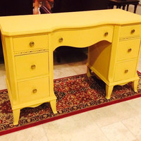 Antique Mahogany Desk Painted with ASCP Arles