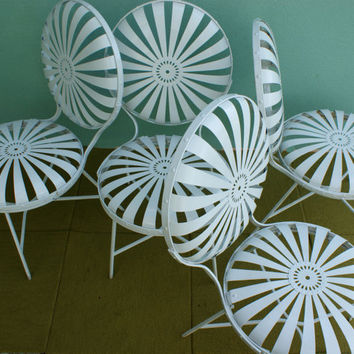 SALE French Sunburst Patio Chair Set of 4 Francois Carre