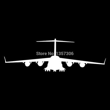 HotMeiNi Aircraft Front View Car Body Window Car Stickers Truck Bumper Auto SUV Door Vinyl Decal Decoration Black/Sliver a00408