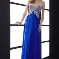 Jasz Couture Plus Size Chiffon Blue Dress 5013