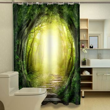 3D Beach Scenery /Magic Forest Shower Curtain Bathroom Products Creative Polyester Bath Curtain with 12 Hooks WA283