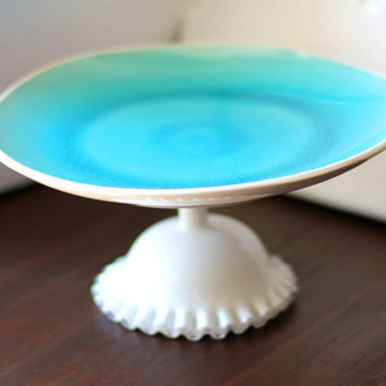 Aqua Blue Cake Stand for Beach Weddings or Summer Weddings / Ceramic Cake Stand Cupcake Stand / Dessert Pedestal / Ocean Beach Themed Decor