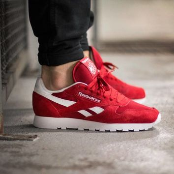 reebok white and red classic shoes