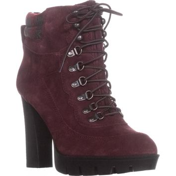 Nine West Abrial Platform Ankle Boots, Dark Red/Dark Red, 10.5 US