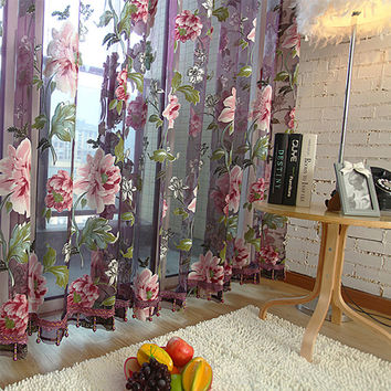 New classical classic flower curtain window screening purple Transparent Tulle Curtains Treatments Living Room  Sheer Curtain