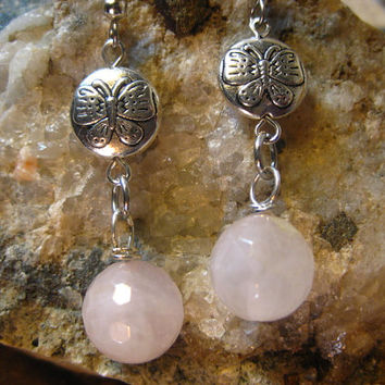 Natural Faceted Rose Quartz & Butterfly Earrings