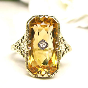 Antique Edwardian Citrine Engagement Ring 14K Yellow Gold Filigree Diamond Accent Wedding Ring Antique Alternative Engagement Ring Size 7