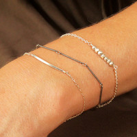 VALENTINE'S DAY, Layering Bracelet, Silver Bracelet Slender Flat Bar Rectangle Chain Simple Modern Delicate